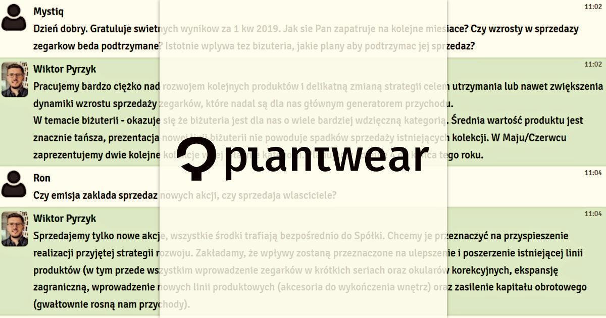 d7c89135cd Plantwear  crowdfunding CrowdConnect.pl - relacja z czatu z Wiktorem  Pyrzykiem